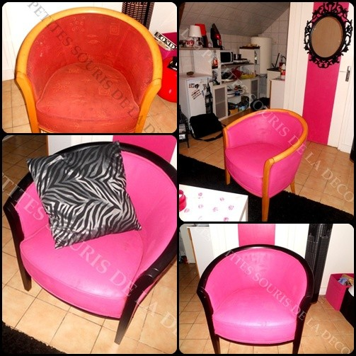 Un fauteuil girly for Repeindre un fauteuil