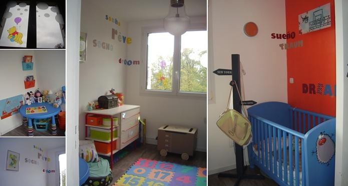 chambre d enfant orange et bleu